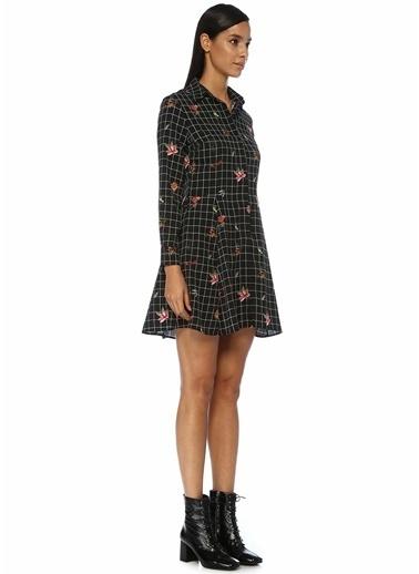 Beymen Club Kareli Çiçek Desenli Mini Gömlek Elbise Siyah